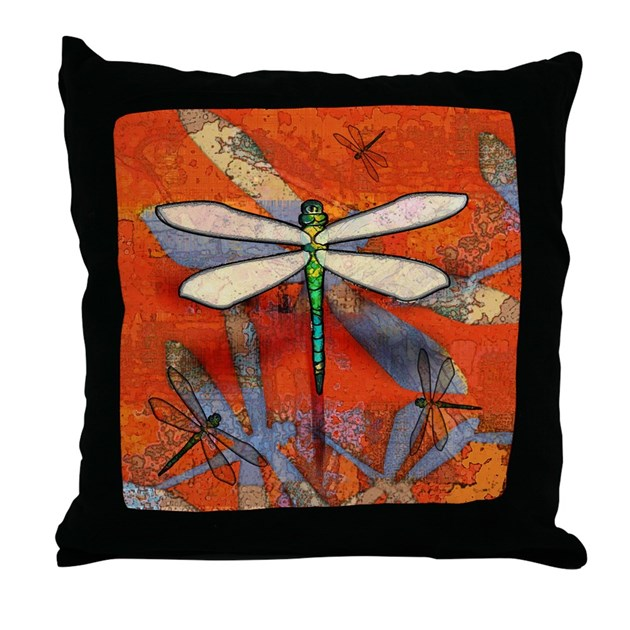 Throw Pillow With Dragonfly : Dragonfly Throw Pillow by crittercollect