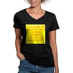 let's get naked Women's V-Neck Dark T-Shirt