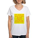 let's get naked Women's V-Neck T-Shirt