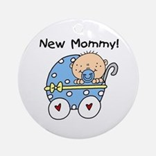 New Mommy Baby Boy Ornament (Round)