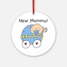 New Mommy Baby Boy Ornament (Round)