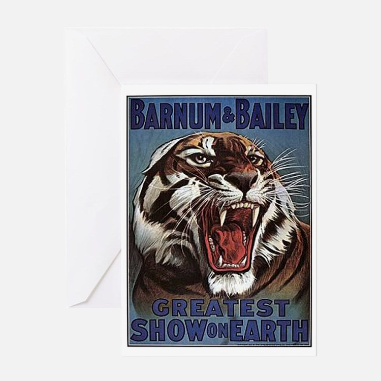 Vintage Circus Tiger Greeting Card