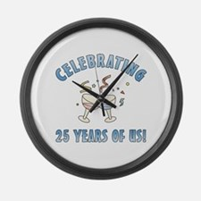 25th Anniversary Party Large Wall Clock