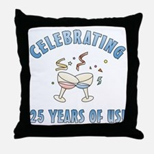 25th Anniversary Party Throw Pillow