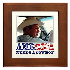 BUSH - America Needs a Cowboy Framed Tile