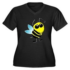 Honey Bee Women's Plus Size V-Neck Dark T-Shirt
