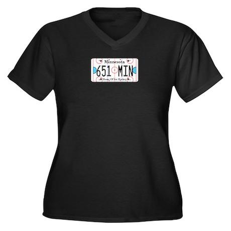 MN Hockey Women's Plus Size V-Neck Dark T-Shirt
