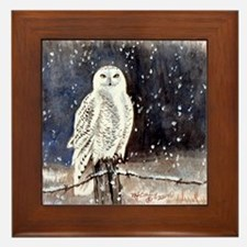 Snowy Owl Framed Tile