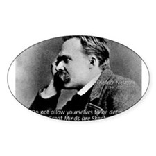 Friedrich Nietzsche Skeptical Oval Decal