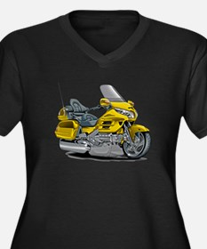 Goldwing Yellow Bike Women's Plus Size V-Neck Dark