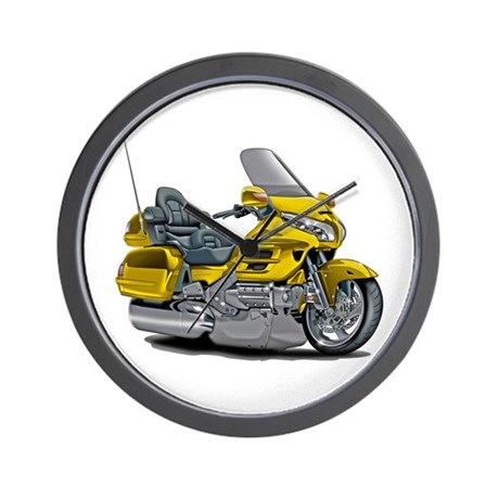 Goldwing Yellow Bike Wall Clock