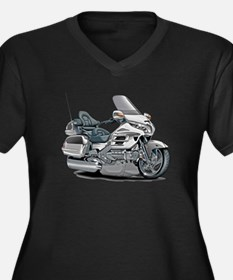 Goldwing White Bike Women's Plus Size V-Neck Dark