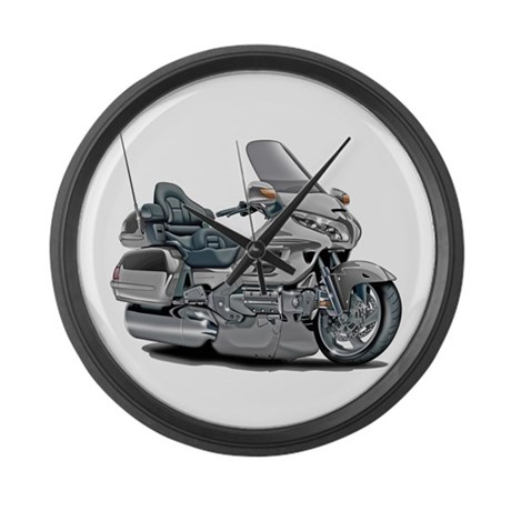 Goldwing Silver Bike Large Wall Clock