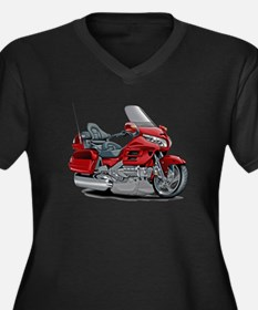 Goldwing Red Bike Women's Plus Size V-Neck Dark T-