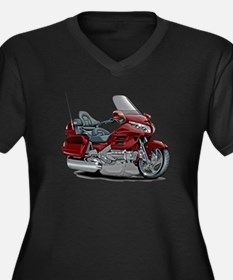 Goldwing Maroon Bike Women's Plus Size V-Neck Dark