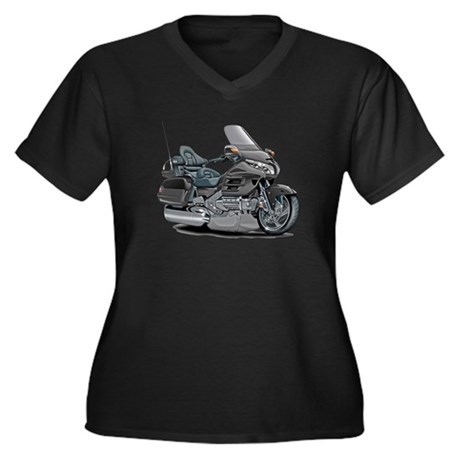 Goldwing Grey Bike Women's Plus Size V-Neck Dark T