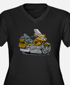 Goldwing Gold Bike Women's Plus Size V-Neck Dark T