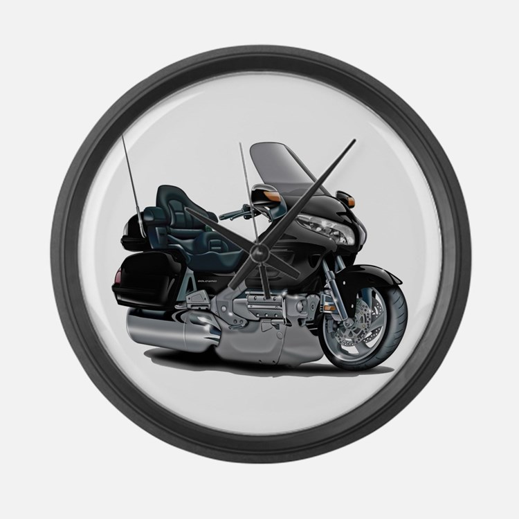 Goldwing Black Bike Large Wall Clock