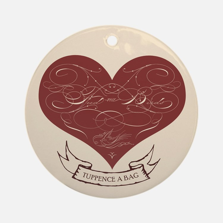 Feed the Birds Calligraphy Heart Ornament