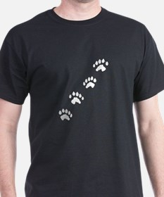 Otter Tracks Pawprints Black T-Shirt