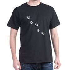 Opossum Tracks Pawprints Black T-Shirt