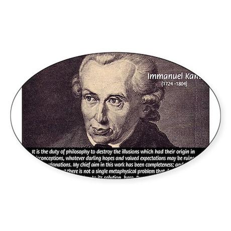 Immanuel Kant Reason Oval Sticker