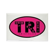 Thiathlon Swim Bike Run Rectangle Magnet
