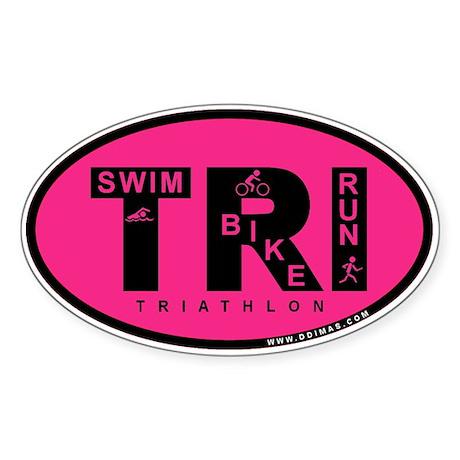 Thiathlon Swim Bike Run Sticker (Oval 10 pk)