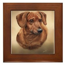 Smooth Red Dachshund Framed Tile