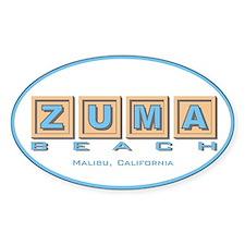 Zuma Beach Ca Oval Decal