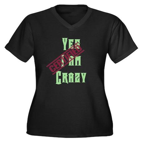I am crazy Women's Plus Size V-Neck Dark T-Shirt