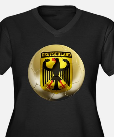 Deutschland Football Women's Plus Size V-Neck Dark
