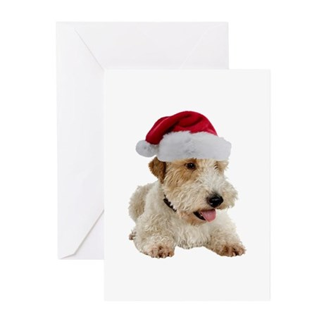 Wire Fox Terrier Santa Greeting Cards (Pk of 10)