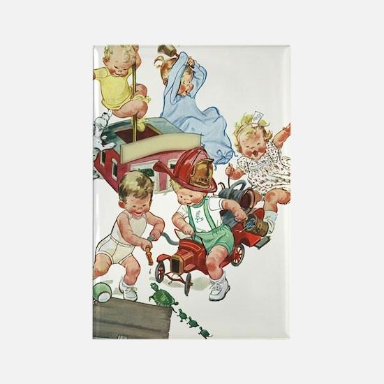 Vintage Children Playing Fireman Rectangle Magnet