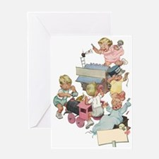 Vintage Children Playng Greeting Card