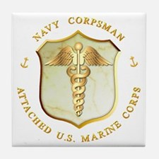 Navy Corpsman USMC Tile Coaster