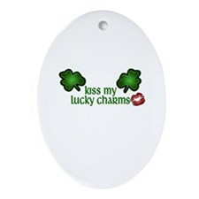 Kiss My Lucky Charms Oval Ornament