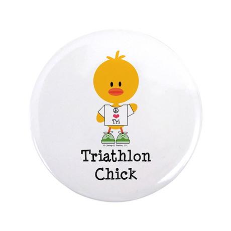 """Triathlon Chick 3.5"""" Button"""