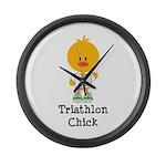 Triathlon Chick Large Wall Clock