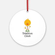 Triathlon Chick Ornament (Round)