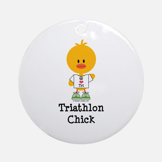 Triathlon Chick Ornament (Round)