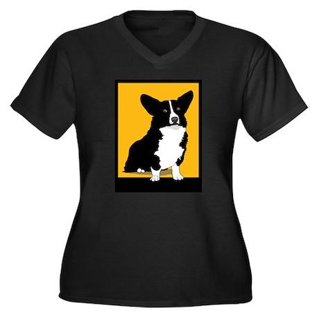 Corgi Dog Women's Plus Size V-Neck Dark T-Shirt