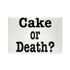 Cake or Death Black Rectangle Magnet