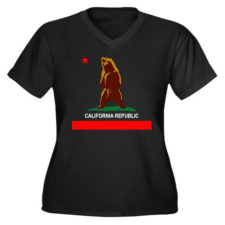Cali Republic Women's Plus Size V-Neck Dark T-Shir