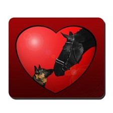 Dog & Horse Friends, Heart Mousepad