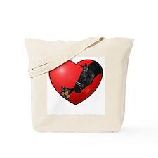 Dog & Horse Heart Tote Bag