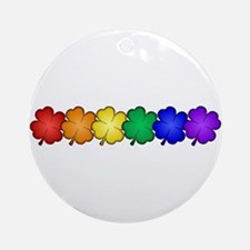 Shamrock Rainbow Pride Round Ornament