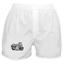 Hayabusa White-Blue Bike Boxer Shorts