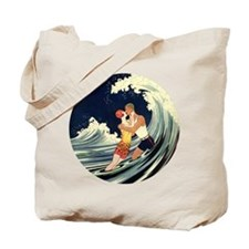 Vintage Art Deco Love in the Surf Tote Bag