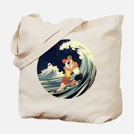 Vintage Art Deco Love in the Surf Tote Bag